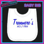 TRANMERE FOOTBALL WHITE BABY BIB EMBROIDERED